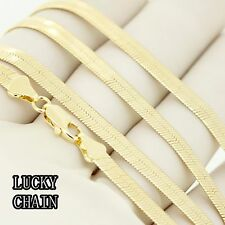 "14K GOLD PLATED HERRINGBONE CHAIN NECKLACE(18"" 20"" 24""x 5mm)11g/12g/16g/A4"