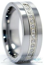 Men Tungsten Carbide Wedding Band CZ Ring Size 7.5 - 14.5