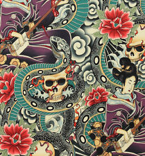 Alexander Henry Zen Charmer tattoo skull fabric FQ rockabilly 50s retro DIY