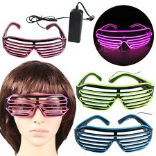El Wire Fashion Neon LED Light Up Shutter Shaped Glasses Rave Costume Party nice