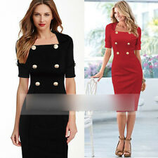 New Black Red Womens Elegant Slim Double-Breasted Office Lady Dress Plus Size