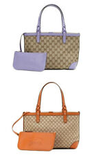NEW Authentic GUCCI CRAFT GG Canvas Tote Bag Handbag w/Pouch, 269878