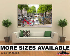 Wall Art Canvas Picture Print - Bycicles Amsterdam Canal Bridge 3.2