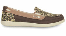 New Womens Crocs WALU Canvas Slip-on Loafers Shoes SZ 6 7 8 9 Wild Graphic Pink