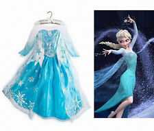 Frozen Princess Queen Elsa Party Fancy Dress Girls Cosplay Costume Clothes 3-8Y