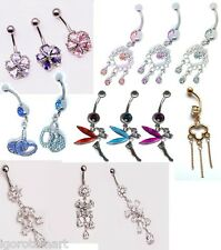 925 Sterling Silver Double Flower CZ Gem Spinal Belly Navel Button Ring Bar NEW