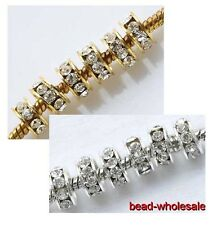 20pcs New hot  Silver/Golden Big Hole Crystal Glass Spacer Beads Fit Bracelet