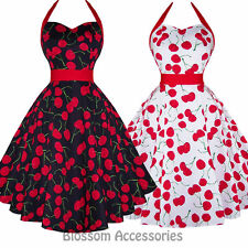 RKH57 Hearts and Roses H&R Cherry Rockabilly Dress Pin Up Vintage 50 Party Swing