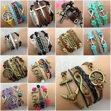 New Fashion DIY Jewelry Lots Style Leather Cute Infinity Charm Bracelet Bangle
