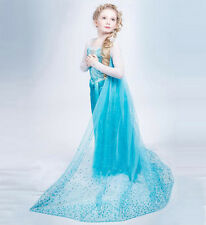 1 Frozen Elsa Princesse Fille Costume Robe Party Beaded Shawl Dress Cosplay Gown