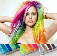 2014    Fashion Straight colored Clips in Hair Piece Extension Cosplay 30 Colors