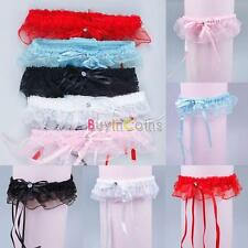 Hot Lady Lovable Bride's Bridal Wedding Garters Socks Satin Bowknot Ruffle 02 DH