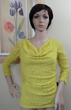 STYLE &CO warm olive yellow 3/4 gathered sleeve cowl neck lace top/blouse,XS,M,L