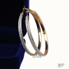 VALENTINE Party Gifts Women Silver Plated Big Round Hoop Earrings MK170USA1
