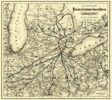 Old Railroad Map - Toledo, Ann Arbor and Grand Trunk Railway 1881 - 23 x 25