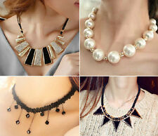 New Fashion Nice Crystal Chain Jewelry Necklace White Pearl Gold Pendant