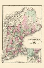 Old State Map - New England - Davenport 1883 - 23 x 35.59
