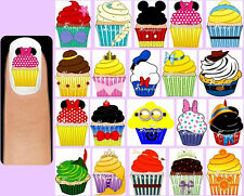 60 DISNEY CUPCAKES Nail Art Decals + Free Gift Cup Cakes Princesses Mickey Mouse