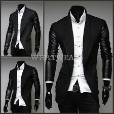 Mens Fashion Medium Style Trench Coat Slim Fit Woolen Coat PU Leather Sleeve SHO