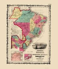 Old South America Map - Brazil, Argentina, Paraguay, Uruguay 1860 - 23x27