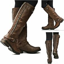 New Womens OT14 Brown Studded Riding Knee High Boots sz 5.5 to 11