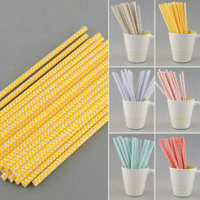 Environmental 25 PCS Chevron Striped Paper Drinking Straws For Party Supply