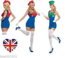 Sexy Ladies Super Mario Luigi Brothers Fancy Dress Costume Women Hen Party Night