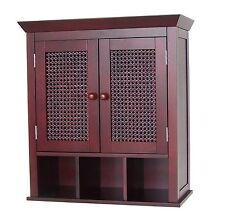 Cane Bathroom Wall Mount Cabinet w 3 Cubbies & 2 doors, Brown and Black