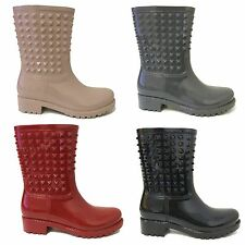 Womens Rain Boots Wellies Rubber Studded Waterproof Short Snow Ankle Boots Sizes