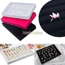 Suede Jewelry Earrings Rings Display Organizer Box Tray Holder Case Storage DH