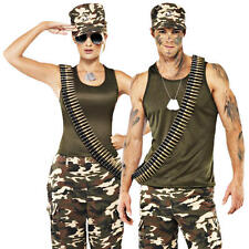 Camouflage Army Uniform + Dog Tags Adults Fancy Dress Military Costume Outfit