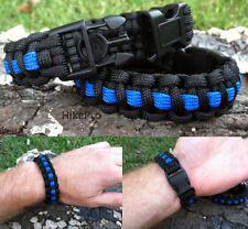 550 Paracord Survival Bracelet Covert Band handcuff key buckle - Thin Blue Line