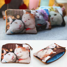 Women Cute Cat Face Purse Mini Coin Money Bag Zipper Wallet Clutch Pouch BG-0401