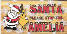 Personalised handmade Christmas Xmas wooden plaques Santa please stop for (name)