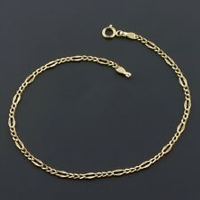 "10K YELLOW GOLD 2.1mm FANCY FIGARO LINK 9"" ANKLET FREE SHIPPING GIFT BOX"