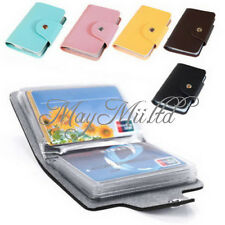 Leather Pocket Business Credit ID Card Holder Case Wallet for 24 Cards Pouch H