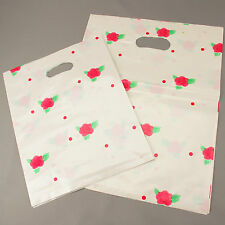 50 White Floral Patch Handle Carrier Gift Shopping Plastic Gift Bags 25cm / 32cm