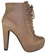Speed 98 Women Ankle Boots Thick Heel Beige Taupe Lace Up Booties Platform SCALA