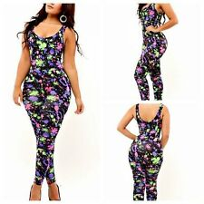 Sexy Womens Zipper Sleeveless Colorful Graffiti Stretch Bodycon Jumpsuits Romper