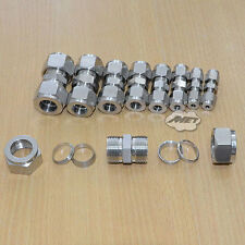 """3mm-22mm 1/8-7/8"""" Equal Straight Compression Coupler Pipe Fitting Double Ferrule"""