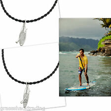 SUP Stand Up Paddle Board Leather Necklace Sterling Silver Pendant Made in USA
