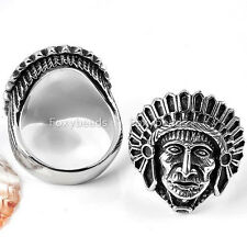1pc Cool Mens 316L Stainless Steel Carved Native Indian Chief Finger Ring US9-12