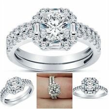 2.00CTW STERLING SILVER NICKEL FREE HYPOALLERGENIC ENGAGEMENT & WEDDING RING SET