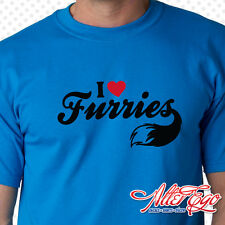 I Love Furries, Furry Fandom, Furdom, Paw, Tail, Yiff, Choose Color, 100% Cotton
