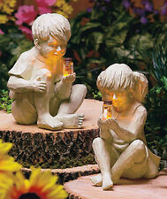 Kids With Solar Lighted Fireflies CHOOSE BOY OR GIRL Statues Yard Garden Decor