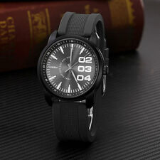 SINOBI New Fashion Mens Rubber Siicon Band Quartz Analog Man's Watch