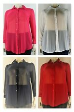 Ladies sheer chiffon full sleeve collar shirt, blouse, tunic - plus size 14-28