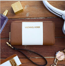 NWT MICHAEL Michael Kors Center Strip Large Multifuntional Wallet/Phone Wristlet