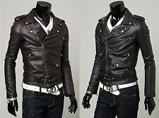 US Seller Mens Motorcycle Jacket Rockin' Style Faux Leather Coat Slim Fit PK44