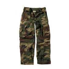 Kids Woodland Army Camo Paratrooper Military Airsoft Cargo Pocket Fatigues Pants